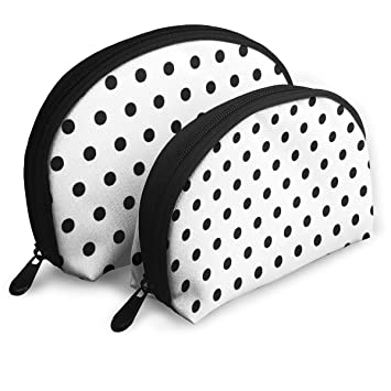9b0a0192c78 Amazon.com   Makeup Bag Classic Black White Polka Dot Portable Shell Cosmetic  Bags For Girlfriend Halloween Gift 2 Piece   Beauty