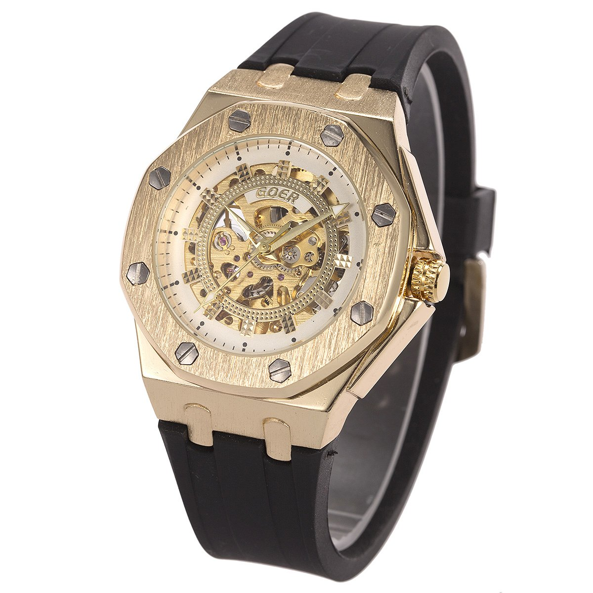 ManChDa Automatic Mechanical Skeleton Mens Wrist Watch Stainless Steel Rubber Belt Golden