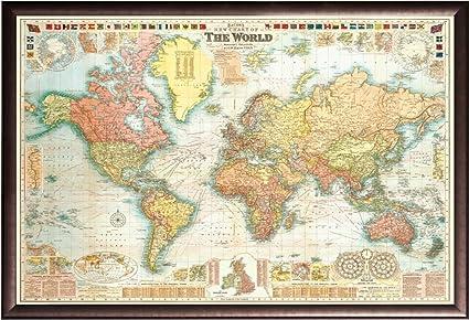 Amazon.com: Push Pin Travel Map World Map GW Bacon circa 1907 18x27 ...