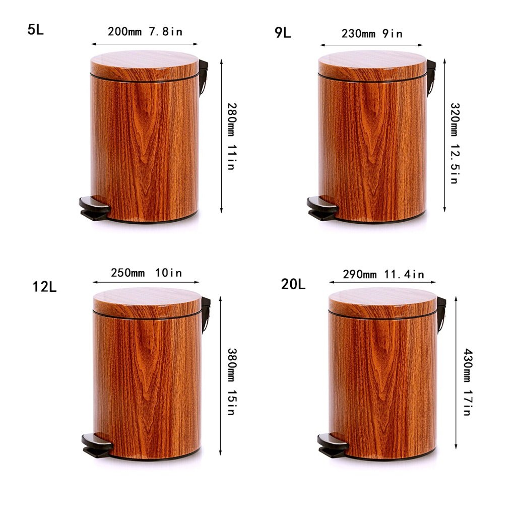 Imitation Wood Grain Trash Can, Kitchen Covered Living Room Trash Can - Bathroom Foot-Mount Home Mute (Size : 9L) by Trash can kitchen trash can small trash can bathro (Image #3)
