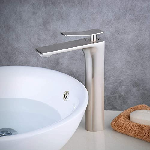 Beelee Contemporary Single Handle Basin Vanity Sink Vessel Bathroom Faucet Tall Mixer Tap, Brushed Nickel Finished