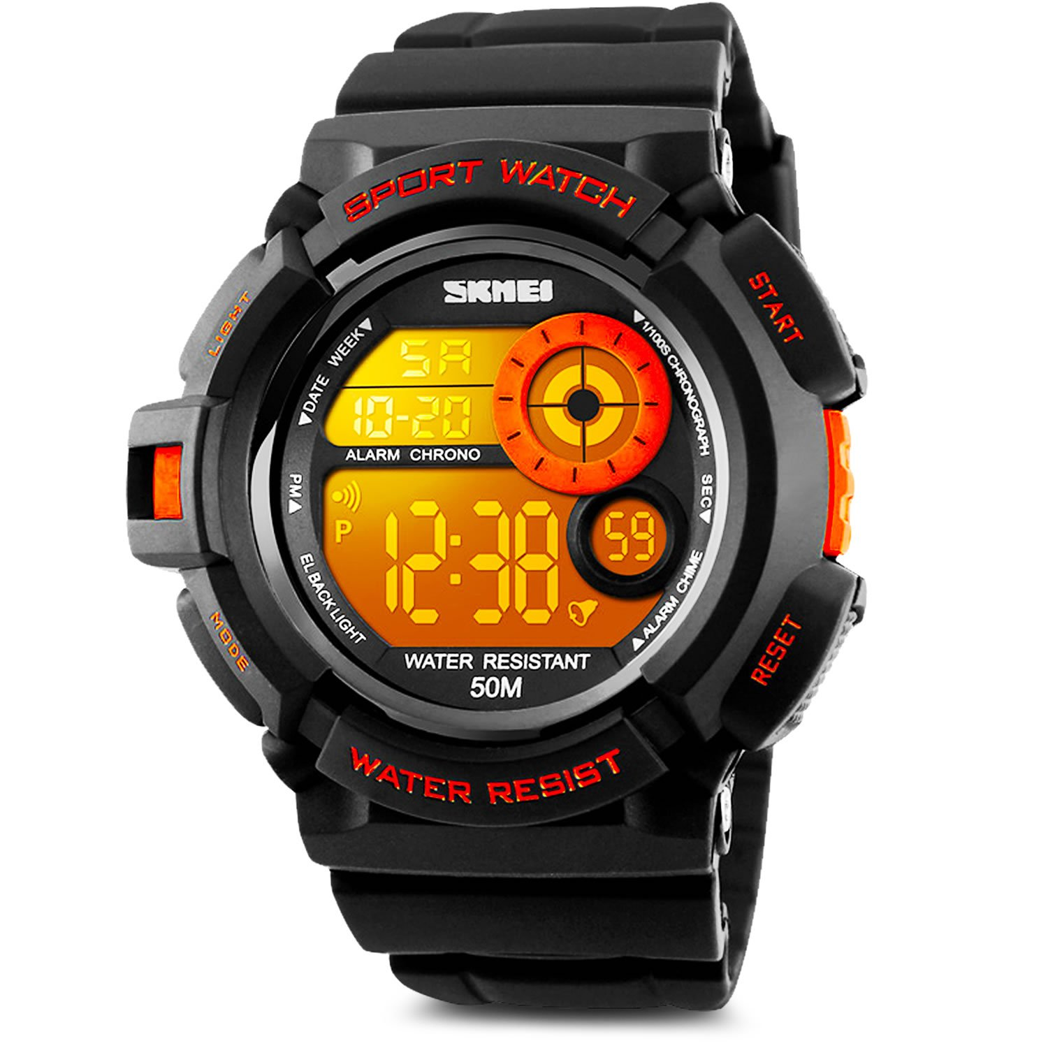 Aposon Men's Digital Sports Watch, Military Army Electronic Watches Running 50M 5 ATM Waterproof Sports LED Wristwatch Water Resistant with Stopwatch -Orange