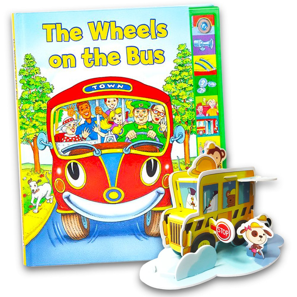 The Wheels on the Bus Interactive Book Set -- Play-a-Song Book with Sound Buttons and School Bus Craft Activity Pack New Seasons 749781412764858