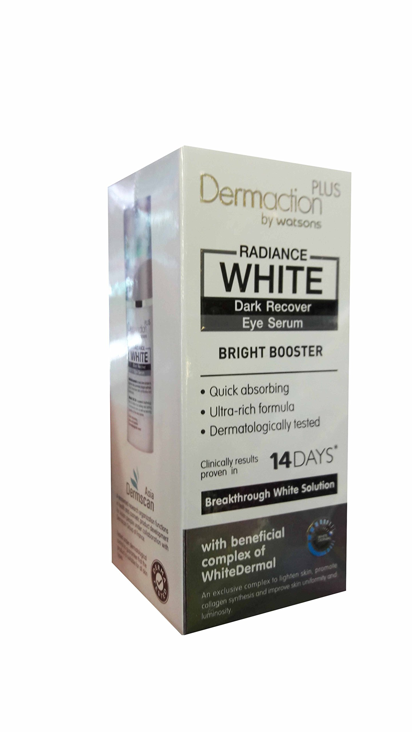 2 Packs of Dermaction Plus by Watsons Radiance White Dark Recover Eye Serum. Bright Booster, Quick absorbing, Ultra-rich formula, Dermatologically tested. (20 ml/ pack)..