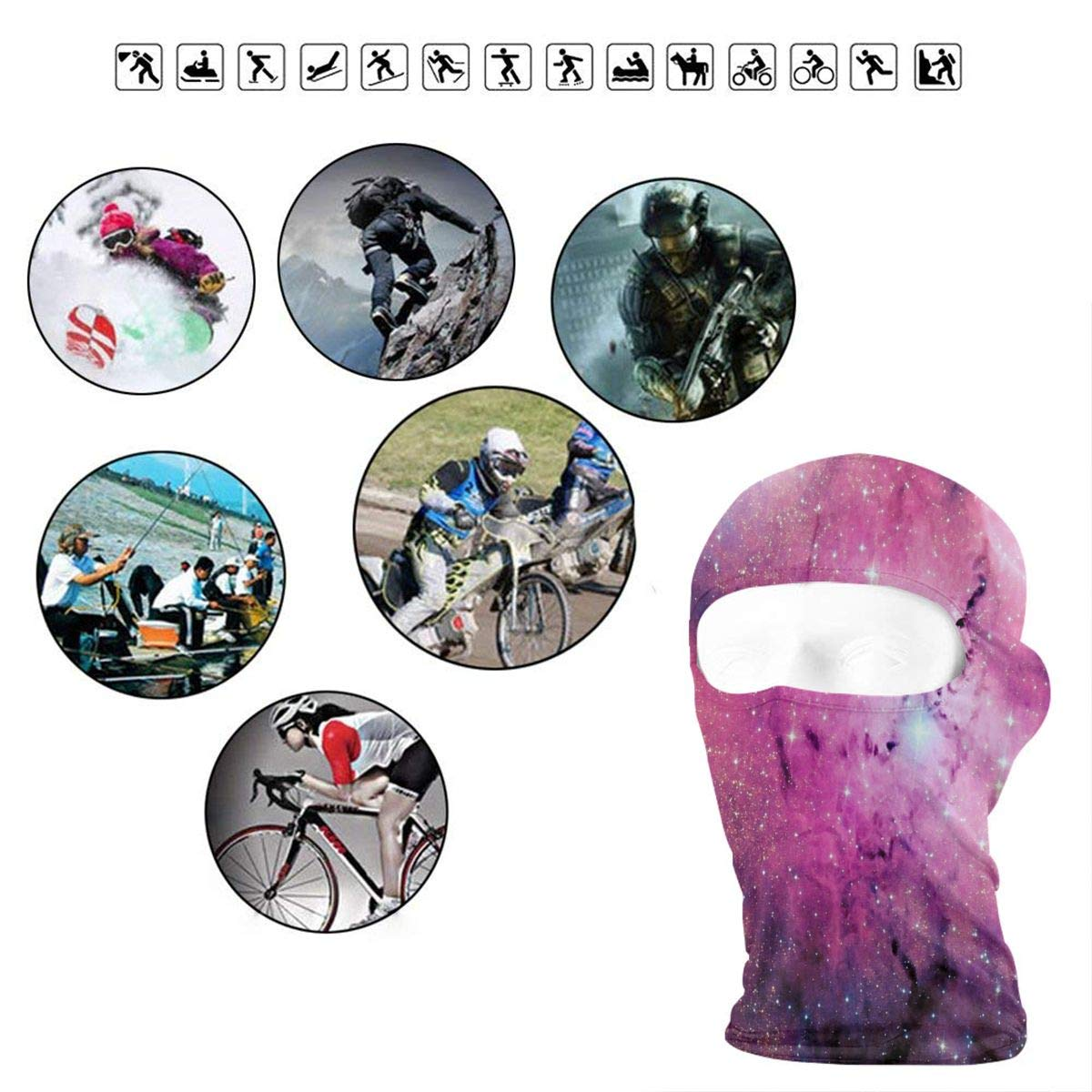 LoveBea Balaclava Pink Space Galaxy Full Face Masks Ski Mask Motorcycle Hood for Cycling Sports Mountaineering