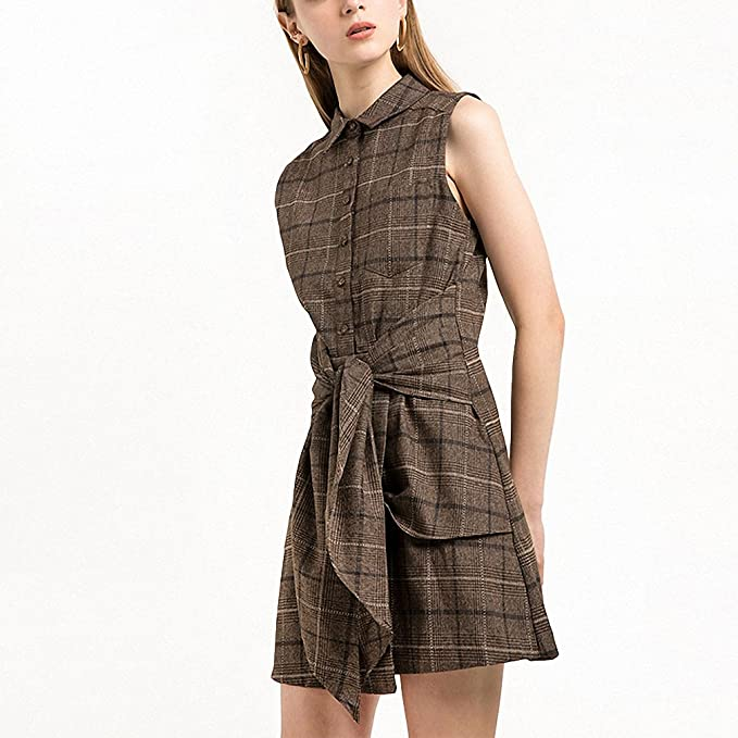 Brown Plaid Casual Mini Dress Women Clothing Tie Waist Vintage Female Vestidos Preppy Chic Summer Shirt Dress at Amazon Womens Clothing store: