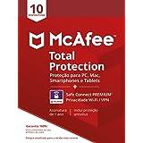 McAfee Total Protection 10 + VPN - Antivírus - Programa premiado de proteção contra ameaças digitais multi dispositivo - 10di