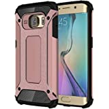 AMPLE® Galaxy S6 Edge Case, Rugged Tough Dual Layer Armor Case Samsung Galaxy S6 Edge Protective Case Shockproof Case Cover for Galaxy S6 Edge [Heavy Duty] [Slim Hard Case] BY (ROSE GOLD)