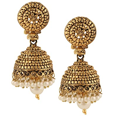 e320cf3da5ce3 Dancing Girl Kundans Jhumki Golden Metal Alloy Jhumka Earrings For Women