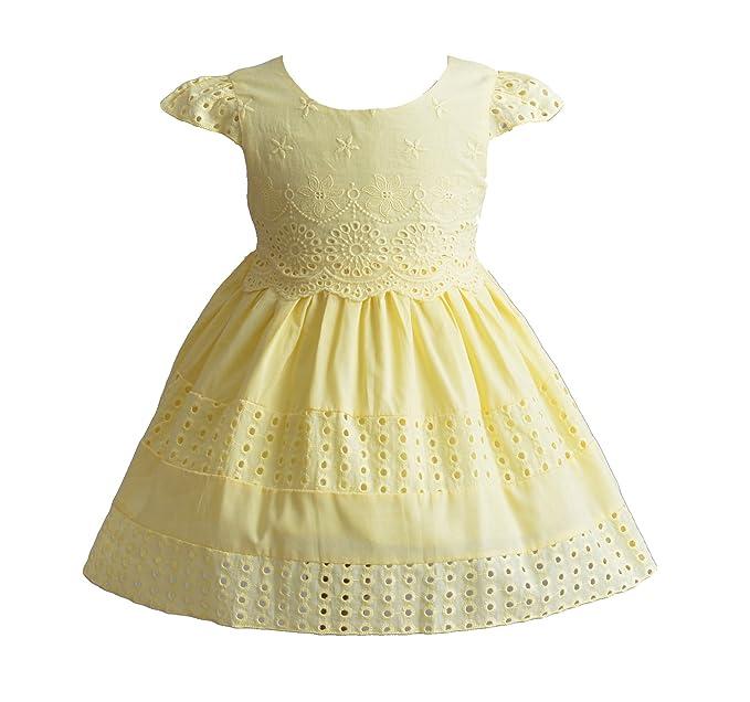 Cinda Bebé niñas Manga Corta algodón Vestido de Verano Vestido de Fiesta Amarillo 6-9