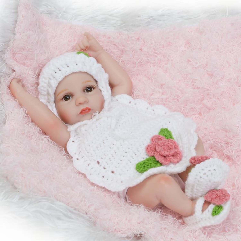 MineeQu 10 Zoll Mini Cute lebensechte wiedergeborene Babypuppen waschbar für Mädchen