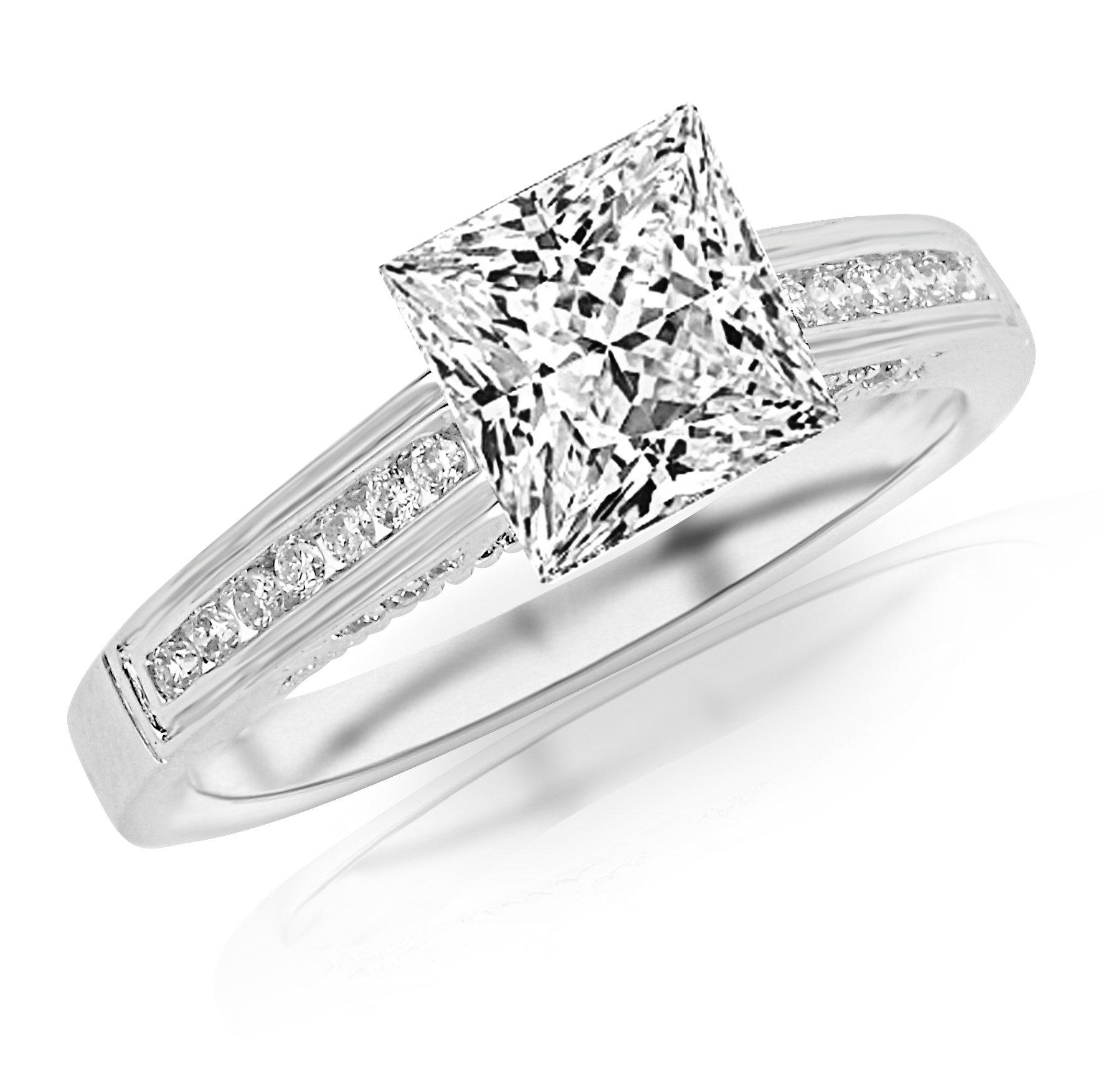 0.53 Carat Princess Cut Classic Channel Set Diamond Engagement Ring (D-E Color, VS2-SI1 Clarity) by Houston Diamond District (Image #1)