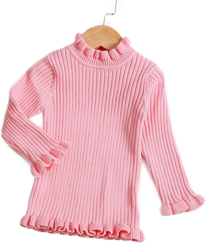 Curipeer Baby Sweater Solid Ruffle Basis Pullover Sweater Turtleneck Longsleeve Fall Clothes for Baby Girl and Boy 6M-4T