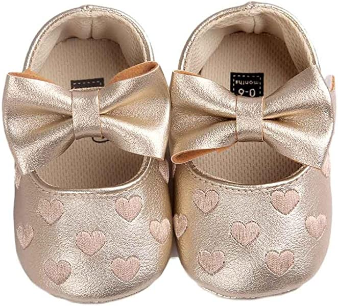 a3f11cce04af Amazon.com | Amiley Baby Girl Leather Bowknot Prewalker Sneaker Soft Mary  Jane Crib Shoes (Size 11 (US:2.5-0~6 Month), Gold) | Shoes