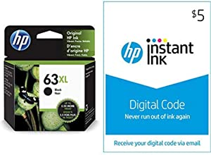 HP 63XL Ink | 1 Black Ink Cartridge | Plus $5 Instant Ink Prepaid Code