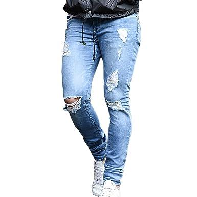 Bold Manner Herren Jeans Denim Hose Slim Fit Skinny Destroyed Zerrissen  Stretch Löcher Blau Schwarz Pants: Amazon.de: Bekleidung
