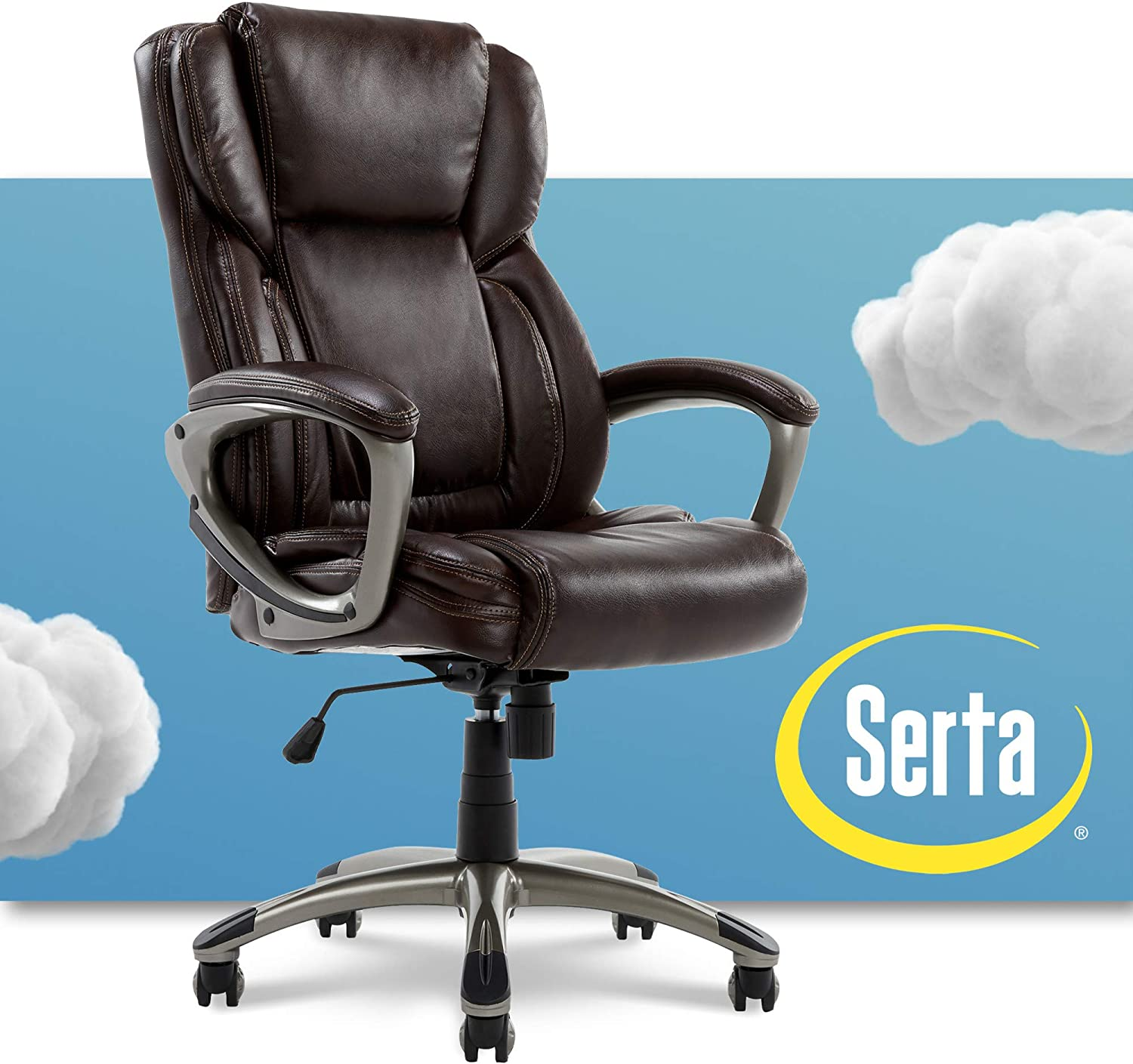Serta Executive Office Adjustable Ergonomic Computer Chair with Layered  Body Pillows, Waterfall Seat Edge, Bonded Leather, Brown