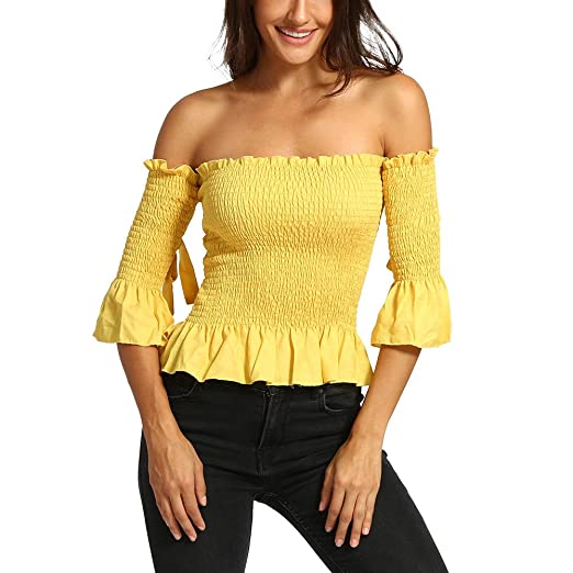 768a4d45aeb 2018 Women Solid Tight Half Sleeve Shirt Slash Neck Backless Off Shoulder  Tops Blouse (Yellow