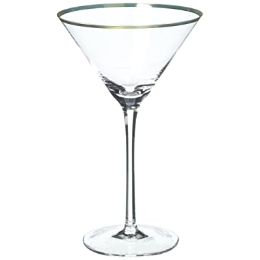 Viski 5210 Belmont Gold & Crystal Martini Glasses (Set of 2), Clear