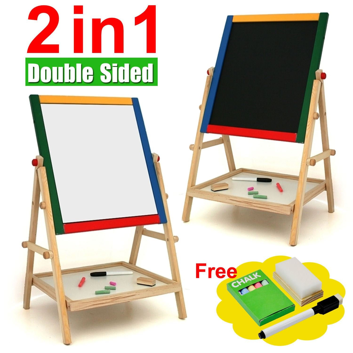 sentik kids 2 in 1 black white wooden easel chalk drawing board for child educational amazoncouk toys u0026 games