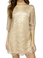 Joeoy Women's Metallic Sequins Half Sleeve Wave Gold Shift Party Dress With Scallop Edge