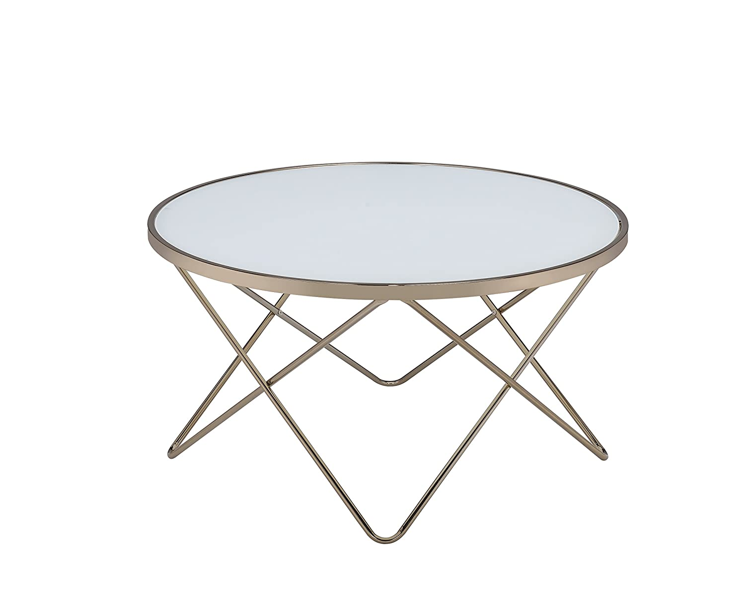 Acme Valora Coffee Table, Frosted Glass & Champagne