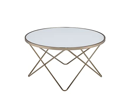 Acme Furniture Acme 81825 Valora Coffee Table, Frosted Glass U0026 Champagne,  One Size