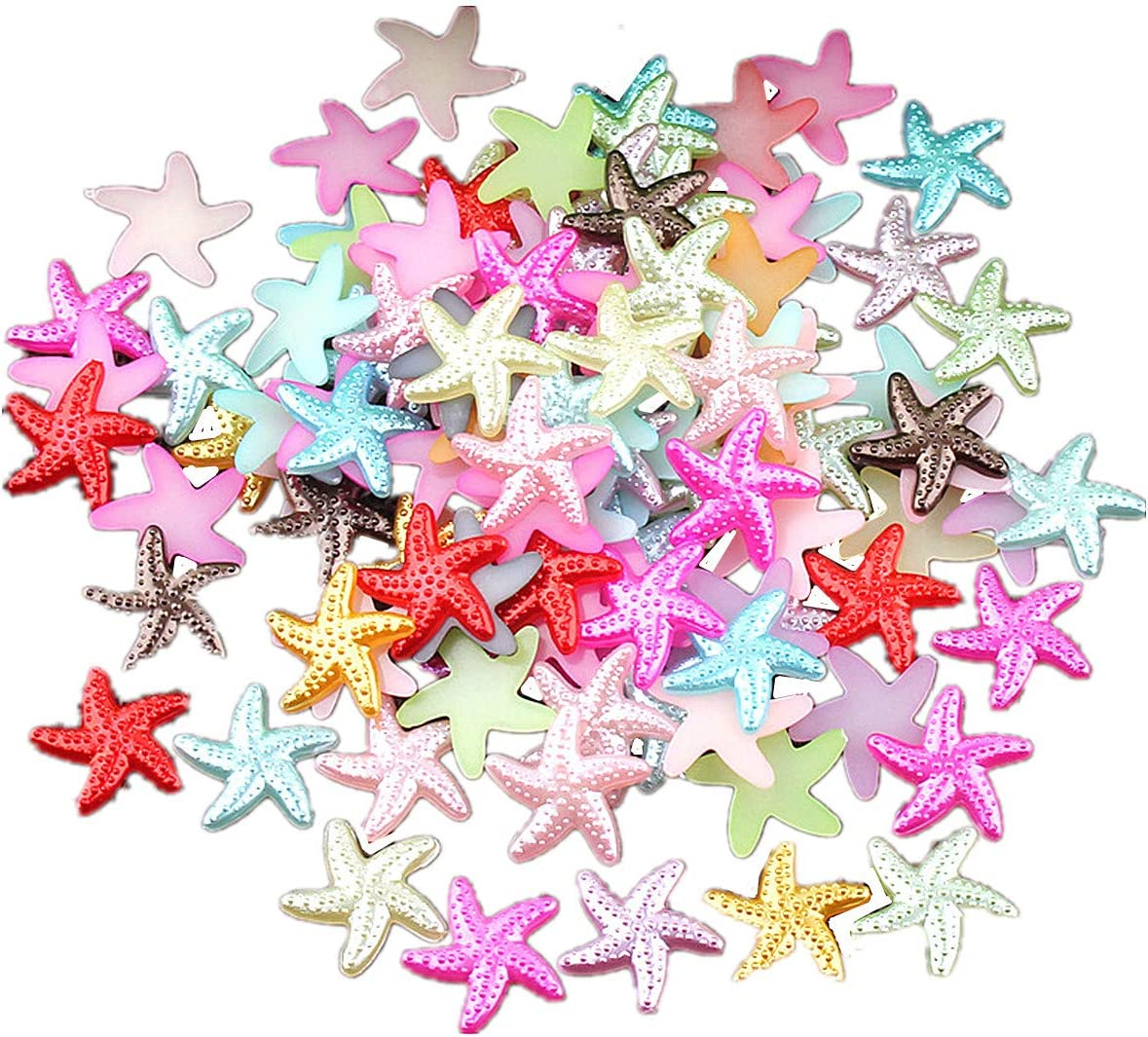 Random Color 500PCS Craft ABS Starfish Imitation Pearls Resin Slime Beads Flatback Buttons for Handcraft Accessories Scrapbooking Phone Case Decor Bead Loose Beads Gem DIY