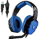 SADES A70 - Cuffie Surround 7.1 USB per PC Gaming, Con Microfono HiFi, Controllo e Luci LED Lampeggianti (Nere)