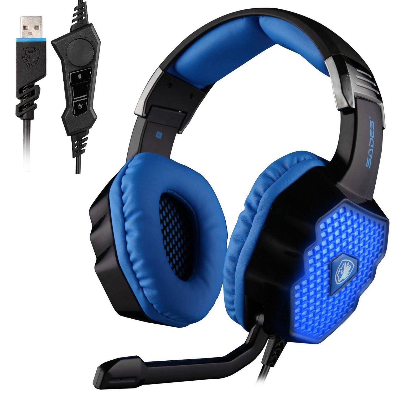 SADES A60 7.1 USB Surround-Sound-Stereo Profi PC Gaming Headset Over-Ear-Kopfhö rer mit Bü gel mit hoher Empfindlichkeit Mic Vibrationsfunktion Lautstä rkeregelung Fernbedienung Wolf Logo LED-Blinklichter (weiß ) LTD.