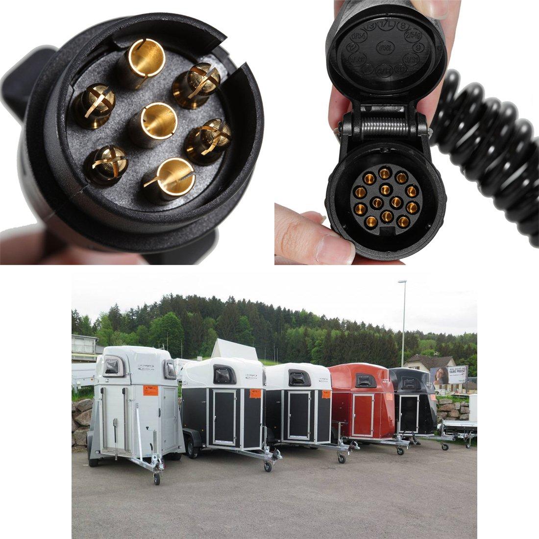 Kingmaz Verl/ängerungskabel Anh/änger 12V Stecker Adapter Kabel Kupplung Spiralkabel 3M 13-13 polig Verbindungskabel f/ür Bootstrailer Trecker Auto Wohnwagen KFZ