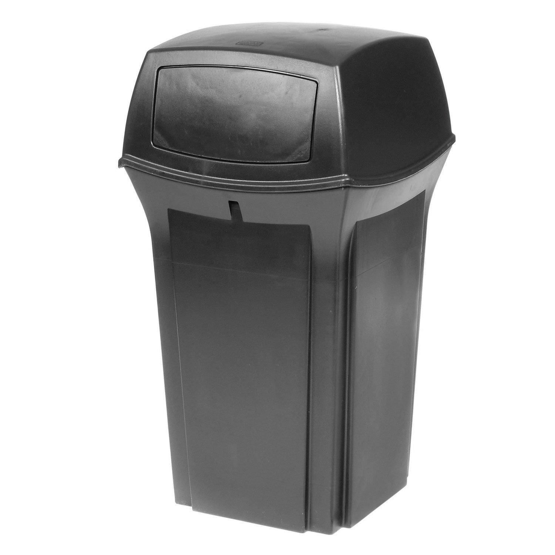 Rubbermaid Commercial Ranger Trash Can, 35 Gallon, Black, FG843088BLA