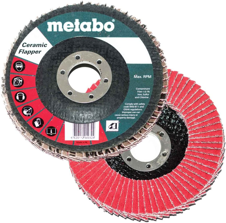 10 pack Metabo 629442000 5 x 7//8 Ceramic Flapper Abrasives Flap Discs 80 Grit