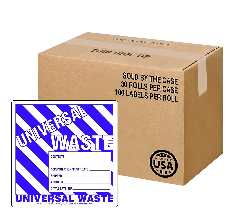 Paper Stock Single Roll Labelmaster UW05T Universal Waste Label 6 Waste Label w//Generator