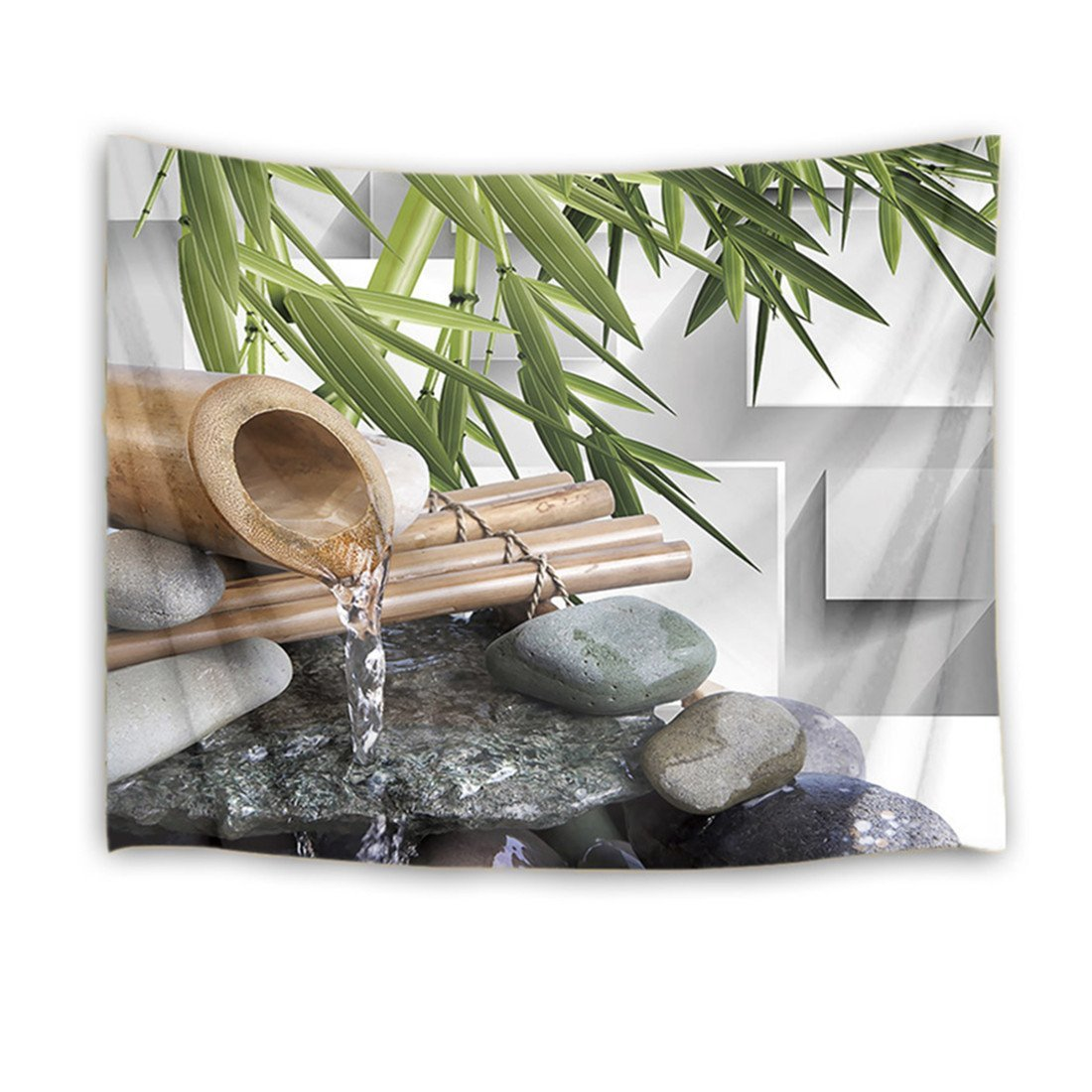 LB Zen Spa Water Tapestry Wall Hanging,Garden Bamboo Leaves Round Stones 3D Printing Tapestries Wall Decor for Dorm Bedroom Living Room,60 W X 40 H INCH(White)
