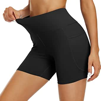 """Women's 5""""/ 8"""" Inseam High Waisted Yoga Shorts, Biker Compression Short for Women with Pockets Tummy Control Athletic Shorts"""