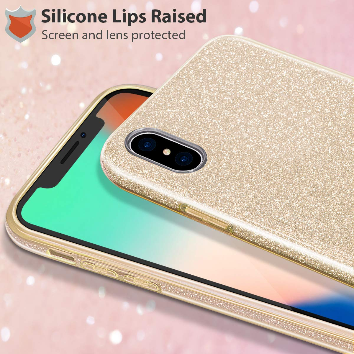 2018 3 Layer Hybrid Anti-Slick//Protective//Soft Case for iPhone Xs Max MILPROX iPhone Xs Max case Shiny Sparkly Silm Bling Crystal Clear -Silver