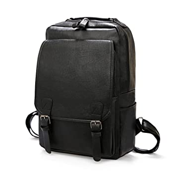 f75cc11abbd3 Amazon.com: Vintage Men Backpack Waterproof Khaki PU Leather Travel ...