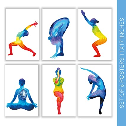 Witty Ways Yoga Decor for Room | Set of Six Beautiful 11X17 Meditation Wall Art Posters | These Gorgeous Decorative Prints Come with Sticky Squares ...