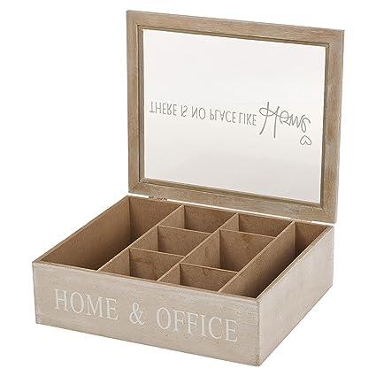 Cajas de madera para almacenamiento de té o cápsulas de café con tapa de cristal,