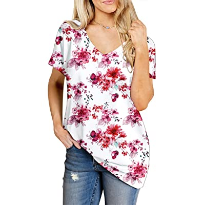 Beluring Women's Summer V Neck Floral Print Casual Tops T Shirts at Women's Clothing store