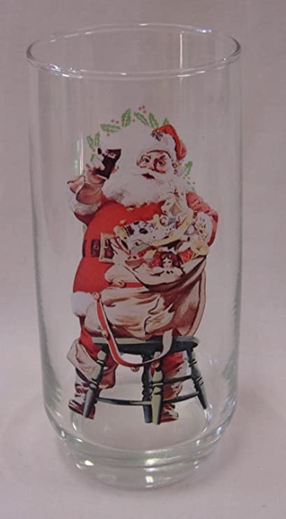 Set of 5 Collectible Vintage Coco Cola Glasses Featuring The Famous Haddon Sundblom Santa Claus 1960