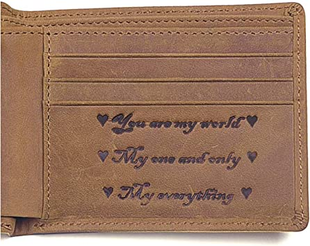 Personalized RFID Blocking Leather Bifold Men/'s Wallet With ID Window and Coin Pocket Personalized Leather Wallets For Men Groomsmen Gift