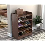 DecorNation Vegas 5 Tier Engineered Wood Shoe Rack/Shoe Case for Living Room and Home Entrance - Walnut Brown