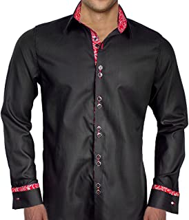 product image for Black with Red French Cuff Designer Dress Shirts - Made in USA