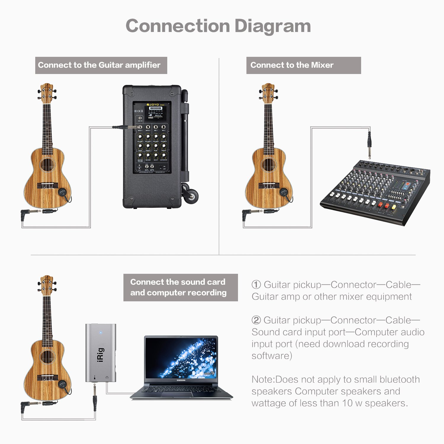 Sunyin Transducer Acoustic Guitar Pickuppiezo Contact Apmilifier Mini Bass Amplifier Circuit And Explanation Microphone Easily Amp Up For Classical Violin Ukulele Mandolin Banjo