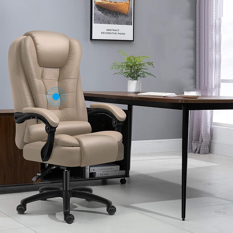 Högrygg kontorsstol, dator skrivbordsstol med ländrygg stöd och vadderade armstöd ergonomi svängbar stol PU-läder verkställande stol kaki
