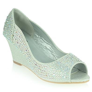 Frau Damen Abend Hochzeit Party Peep Toe Diamant Niedrige Keilabsatz Sandalen Schwarz Schuhe Größe 39 SftnqMHS