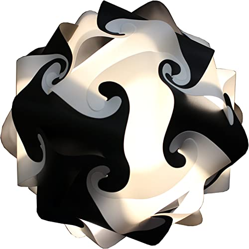 Fully Assembled Puzzle Lamp – IQ Light Handmade White Black Round Shape Ceiling Lamp Cord Bulb Included size M