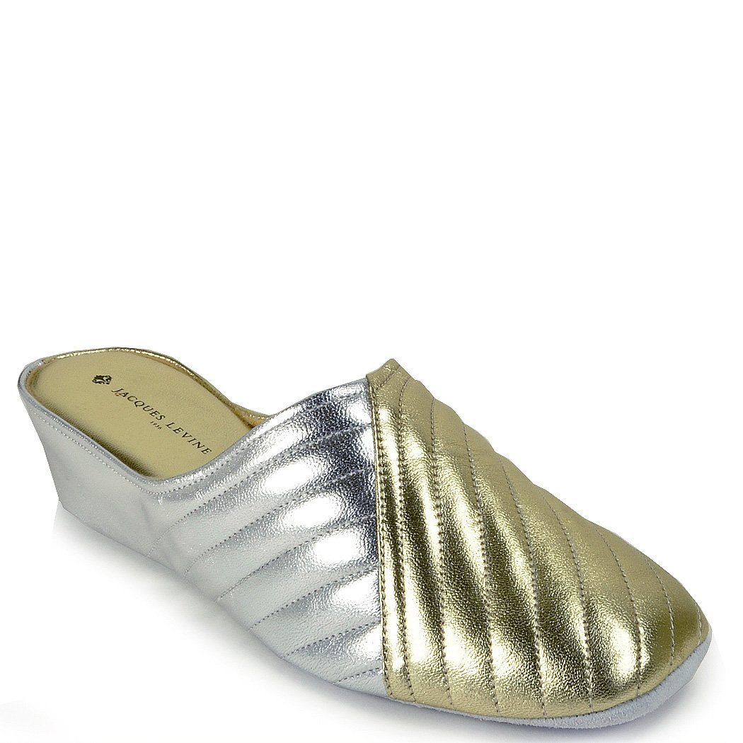Jacques Levine #1221 Womens Leather Wedge Slipper 7M,Gold/Silver
